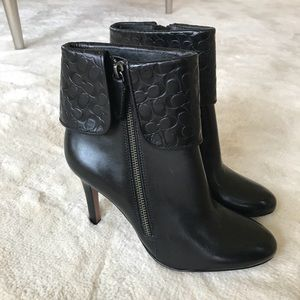 Coach black leather cuffed heel booties!